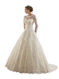 TDHQ Women's Jewel Lace Applique Long Sleeves Sash Chapel Train A Line Wedding Dress White US16