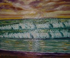 """The Tide Is Always Turning"" by Nuala Holloway - Oil on Board Irish Art, Board Art, Seaside, Turning, Waves, Ocean, Oil, Painting, Surfboard Art"