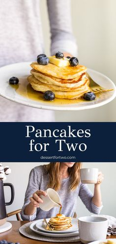 Pancakes for two. A small batch of pancakes for one or two people. Perfect, buttermilk recipe that makes just 6 cakes, scale up if needed. Small Batch Waffle Recipe, Small Batch Baking, Pancake Dessert, Dessert Dishes, Food Dishes, Spring Recipes, Holiday Recipes, Holiday Meals