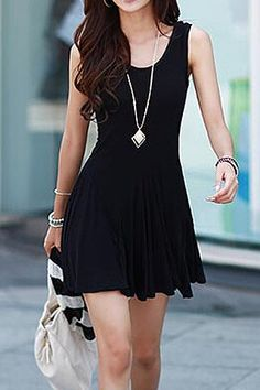 Brief Style Scoop Collar Sleeveless Solid Color Dress For Women