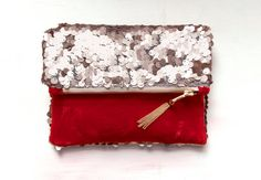 R O S E GOLD Pink Sequin and Ruby Red Velvet by GiftShopBrooklyn, $78.00