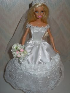 Handmade Barbie doll clothes  Wedding gown by TheDesigningRose