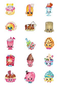 Bottle Cap Images 1 Inch 4 X 6 Shopkins Sweet Treats Buy 3 Get 1 Free Use for… Bottle Cap Art, Bottle Cap Crafts, Bottle Cap Images, Diy Bottle, Shopkins Bday, Shopkins Cookies, Diy Birthday, Birthday Cakes, Candyland