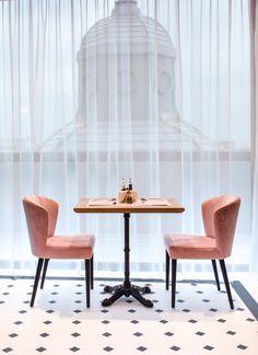 pink restaurant interior design picktwo studio : two pink chairs in a restaurant