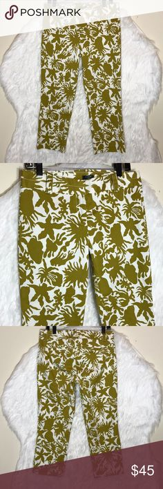 """J.Crew Olive Green Printed Ankle Pants It's called the """"magic pant"""" around the office for a reason: It's sleek, chic and slim fitting, with an exactly-right-length leg. And it goes with just about everything. inseam: 24"""", length: 9"""". waist:15.5"""". NWOT J. Crew Pants Ankle & Cropped"""
