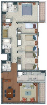 Long narrow house plan with 3 bedrooms possibly 4.