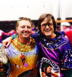 Chef Tory McPhail from Commander's Palace and me getting in costume to on a float in a New Orleans Mardi Gras parade.