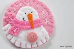 Baby Girl's First Christmas Wool Felt Snowman by WoollyBugDesigns