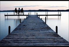 Deck on Torch Lake at twilight, Antrim County, Michigan, USA.photo by Pierre-Arnaud Chouvy