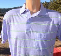 4efbc1150 vintage 80s polo GOLF shirt purple lavender stripe Medium Large southern  classics