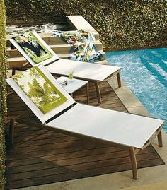 Frontgate's Newport Set of Two Chaise Lounge Chairs are not only comfortable but they also allow air to circulate to keep you cool while sunbathing.