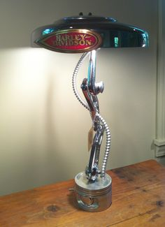 Chrome Linkage Lamp Made from recycled Harley Davidson motorcycle parts.