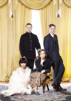 Photo of main cast of Miss Fisher's Murder Mysteries for fans of Miss Fisher's Murder Mysteries. Essie Davis as Miss Phryne Fisher, Nathan Page as Detective Inspector John 'Jack' Robinson, Ashleigh Cummings as Dorothy 'Dot' Williams, Hugo Johnstone-Burt as Constable Hugh Collins