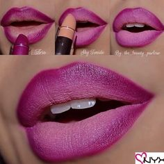 Ombre Lips: 42 Stunning Lip Styles To Try Right Now Ombre lips looks are one of the latest beauty obsessions. Check out our photo gallery featuring gradient lip makeup looks and go for mega impact. Ombre Lips Tutorial, Lip Tutorial, Makeup Tutorial Step By Step, Lipstick Tutorial, Dark Skin Makeup, Lip Makeup, Beauty Makeup, Drugstore Makeup, Eyebrow Makeup