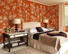 Hand - painted Chinoiserie wallpaper in orange is so dramatic and works with traditional or modern furnishings. Perfect for the lover of ...
