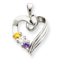 14k White Gold 3 Stone Family Pendant Mounting