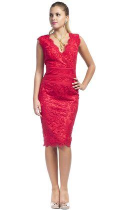 TADASHI SHOJI - Vestido rojo, corto con encaje - Alquiler vestidos de fiesta - Dresseos