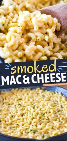This ridiculously good smoked mac and cheese is the perfect comfort food for dinner tonight! It is a creamy pasta recipe made in a cast iron skillet and smoked in your electric smoker. Serve it as a main dish or side dish! Creamy Pasta Recipes, Cheesy Recipes, Pork Recipes, Smoker Recipes, Smoked Mac And Cheese, Macaroni And Cheese, Side Dish Recipes, Side Dishes, Dinner Recipes