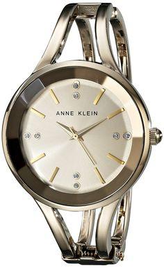 Anne Klein Women's AK/1718CHGB Swarovski Crystal Accented Gold-Tone Bangle Watch: Anne Klein: Amazon.ca: Watches
