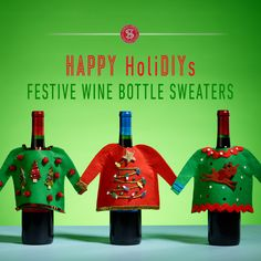 Dress up your gift of wine with these delightful holiday sweaters that are so easy to make!