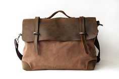 Retro cowhide leather canvas casual shoulder by CanvasLeatherArt, $54.99