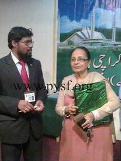 PYSF President Hafiz Salman Naveed with Zaheen Tahira Sahiba Radio Pakistan, Hafiz, Presidents, Youth, Baseball Cards, Sports, Fictional Characters, Hs Sports, Sport