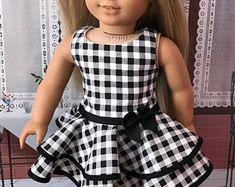 "Sleeveless Black & White Dress fits 18"" doll"