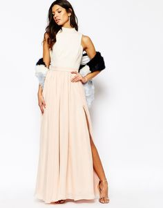 a8e3dfd71dc7 Shop Fame And Partners Downtown Queen Full Prom Maxi Dress With High Neck  at ASOS.
