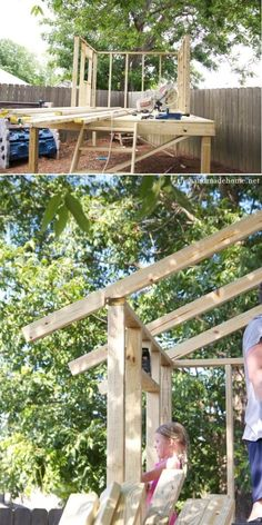 building a handmade hideaway : the roof how to build a treehouse Building A Treehouse, Building A Pergola, Pergola Plans, Pergola Garden, Diy Pergola, Pergola Kits, Metal Pergola, Kids Garden Playhouse, Build A Playhouse