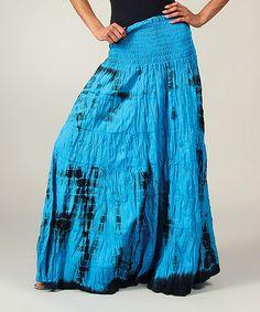 Look at this #zulilyfind! Turquoise Tie-Dye Shirred Maxi Skirt by Aller Simplement #zulilyfinds