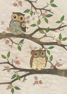 Two Owls, original embroidery by Amy Butcher.  Card designed by Jane Crowther.