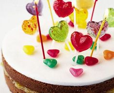 Fab, fun easy-to-make birthday cake - decorate with your little ones' favourite treats Make Birthday Cake, Birthday Cake Decorating, Birthday Ideas, Lollipop Cake, Lollipop Birthday, Pastel, Bbc Good Food Recipes, Cake Ingredients, Cake Tins