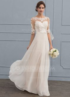 A-Line/Princess Scoop Neck Floor-Length Chiffon Wedding Dress With Beading Sequins Bow(s) (002119791)
