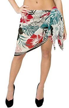 cfef301733 La Leela Allover Floral Printed Chiffon Beach Swim Sarong Pareo Wrap White  Red La Leela http