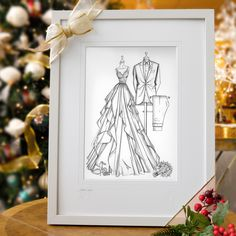 Do you love Christmas? I love relaxing after my busiest time of year. Indiana Jones movies, walks, indulgent chocolates, good wine, pyjama days, board games, visiting friends and family - ah delightful. Still have a few spaces for Christmas orders. Bride n' Groom Sketch for €220. Framing is optional and ship worldwide. wwwweddingdressink.com/shop/bride-n-groom