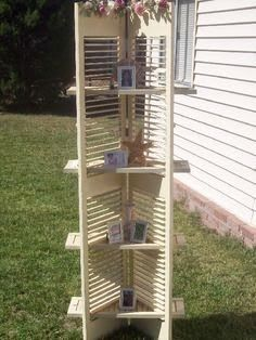 take out some slats and insert the boards for shelves. Look for shutters at Estate ReSale & ReDesign, LLC in Bonita Springs, FL or your local thrift store. - corner shelves in beach condo Repurposed Items, Repurposed Furniture, Diy Furniture, Shutter Shelf, Shutter Doors, Shutter Projects, Old Shutters, Repurposed Shutters, Bedroom Shutters