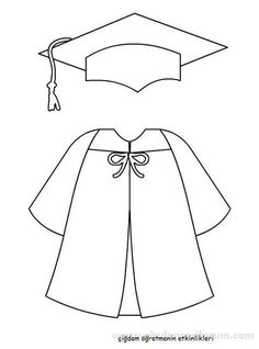 Graduation cap and gown template for kids to color & draw. Graduation Crafts, Pre K Graduation, Kindergarten Graduation, Graduation Cookies, Graduation Templates, Graduation Theme, Graduation Cap And Gown, Graduation Cap Drawing, End Of School Year