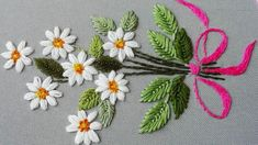 Hand Embroidery: Daisy flower 🌼 Very easy stitches * top embroidery Hand Embroidery Flower Designs, Hand Embroidery Videos, Hand Embroidery Tutorial, Embroidery On Clothes, Hand Embroidery Patterns, Embroidery Stitches, Embroidery Boutique, Embroidery Kits, Japanese Embroidery