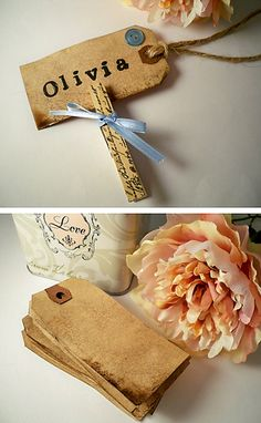 vintage shabby chic wedding, escort card or place card.