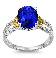 Sterling Silver Solitaire Blue Sapphire / Yellow Cz Cocktail Ring Sz 6-9 104107123456