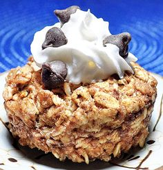 Cookie Dough Baked #Oatmeal! A decadent breakfast- try blueberries instead of chocolate chips