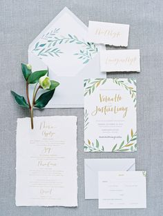 Leafy spring invitation suite: http://www.stylemepretty.com/2016/03/20/spring-preview-every-detail-you-need-to-see-this-season/