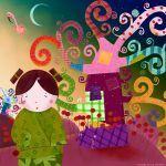 Miss Kokeshi and the life tree by nicolas-gouny-art