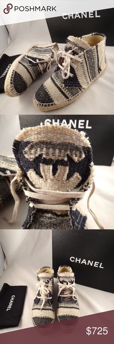 Chanel 15C Beige Blue Grey Stripe Cap High Top Chanel 15C Beige Blue Grey Stripe Cap High Top Espadrille Sneaker Flats 35  ********** Chanel **********  Brand: Chanel Size: 35 (know your Chanel size)  Name: Espadrilles Color: Grey/Blue/Beige Style: High Top Espadrille Style#: G29600X02268 Material: Toile Canvas Rounded front toe Double sole espadrille bottom Toile canvas striped material Lace up front CC front logo Stunning on and in person Brand new in box, comes with box and dust bag…