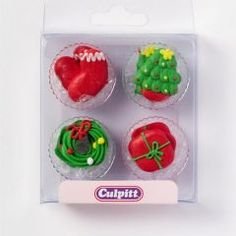 Give cupcakes and cakes a Festive touch this Christmas with these colourful ' Xmas Themed ' sugar pipings. Great when used individually or combined in a pattern to decorate a full-sized cake.The delightful Christmas Sugar cake decorations are ind. Minion Christmas, Old Christmas, Antique Christmas, Vintage Christmas Ornaments, Christmas Themes, Xmas, Christmas Cupcake Toppers, Christmas Cupcakes Decoration, Sugar Decorations For Cakes