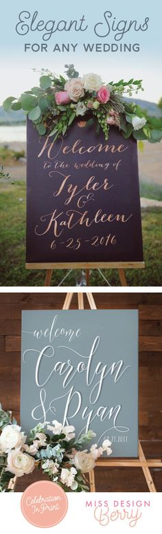 Elegant wedding signs customized to match every wedding style, color palette, and theme! Shop now from Miss Design Berry