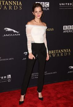 Emma Watson looking totes chic at the BAFTA Britania Awards last night in L.A <3 #style