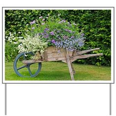 Front Yard Landscaping Discover Wooden wheelbarrow planter - Yard Sign by Science-Photo-Library - CafePress Landscaping With Rocks, Front Yard Landscaping, Mulch Around Trees, Front Yard Decor, Front Porch, Wheelbarrow Planter, Wooden Planters, Cheap Planters, Farmhouse Landscaping