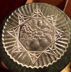 "Antique Vintage Depression pioneer Federal glass design pattern embossed fruit 11"" sandwich platter cookie plate dish best offer free ship on Etsy, $39.00"