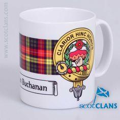 Ceramic mug with Buchanan Clan Crest and Tartan